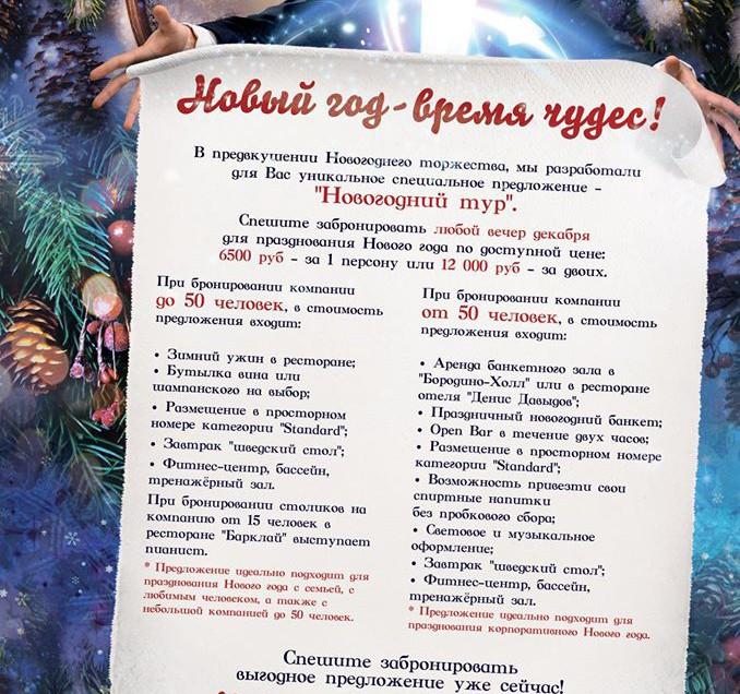 Новогодний тур в отеле «Бородино»